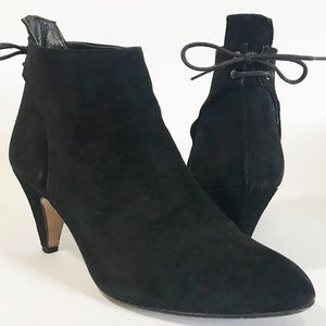 Calabrito Black Suede Booties with Tie at Back